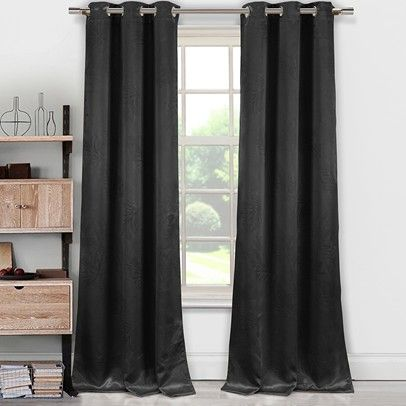 Tegan Blackout Emboss Grommet Pair Panel -Black-TBQBK-12-3097 $39.00 on buyinvite.com.au