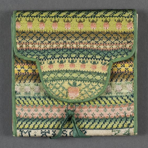 Pocketbook by Mary W. Alsop, Connecticut, c. 1814 this is knitted, but a nice inspiration for a boundweave design and application.