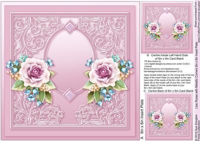 Lilac Roses with Metallic Corners matching 8x8 Insert Plate on Craftsuprint designed by Sue Douglas - This is the matching 8in x 8in Insert Plate sheet for the Lilac Roses with Metallic Corners 8in x 8in Decoupage Mini Kit design, Also included on the sheet are two smaller panels to place on to the back and the inside left of your finished card. If you would like to see the Decoupage sheet that matches this design, please go to the Related Sheets option. Instructions are included on this…