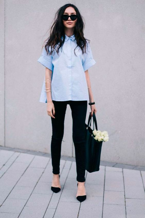 camisa manga curta azul: