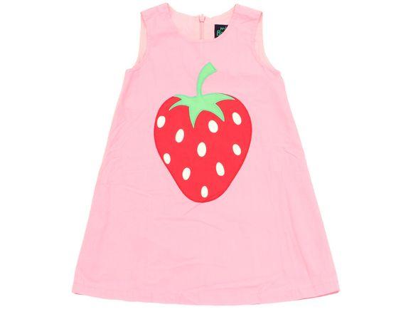 Zuckersüßes Hängerkleid mit großer Erdbeere, komplettem Innenfutter und halben rückseitigem Reißverschluss in Gr. 104 der Marke #MiniBoden