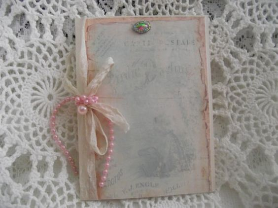French Inspired Card With A glitter Stone Pink Pearls by mslizz, $5.50