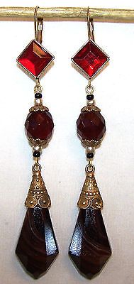 Vintage 1940s Art Deco  Czech red & chocolate glass long lever back earrings