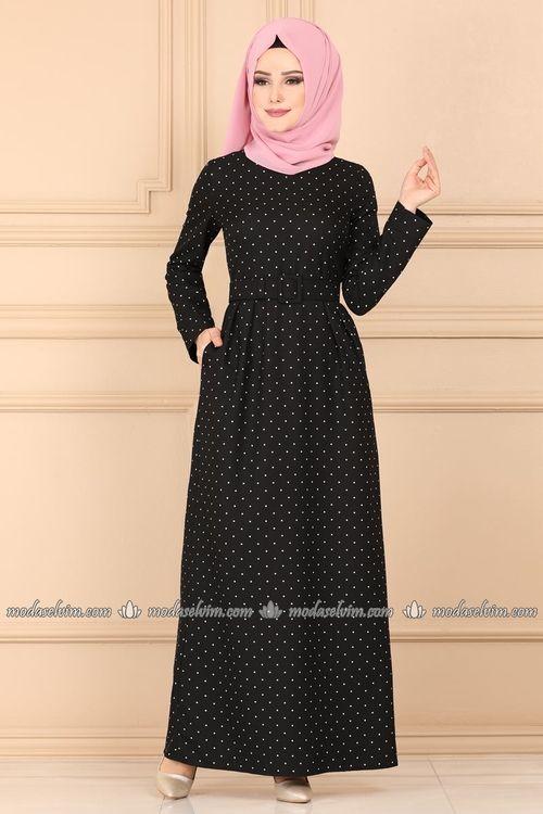 Modaselvim Elbise Puantiyeli Tesettur Elbise 9512w153 Siyah Moda Stilleri Elbise Elbiseler