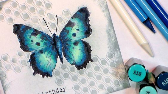 How to color a blue butterfly with Spectrum Noir Markers
