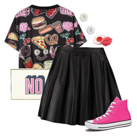 """The Food Tag"" by cosplaycrazy13 ❤ liked on Polyvore featuring Anya Hindmarch, Morgan and Converse"