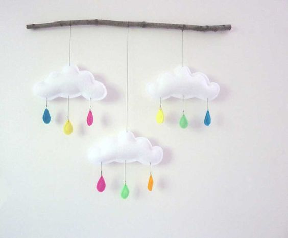 Big Rain cloud mobile on branch Summertime by by leptitpapillon, $49.00