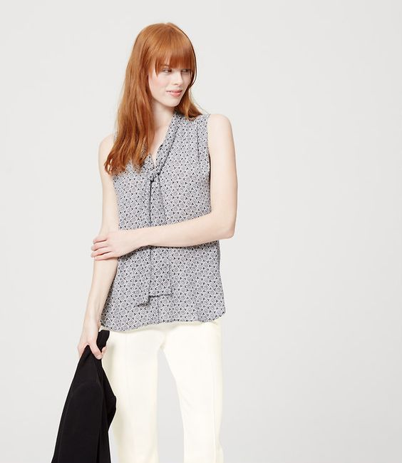 Primary Image of Floral Sleeveless Tie Neck Blouse