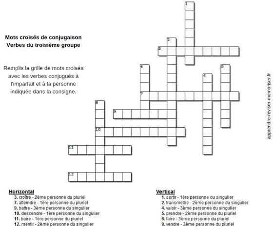 Mots Croises De Conjugaison Pour Travailler L Imparfait Des Verbes Des Trois Groupes Apprendre Reviser Memoriser Crossword Crossword Puzzle
