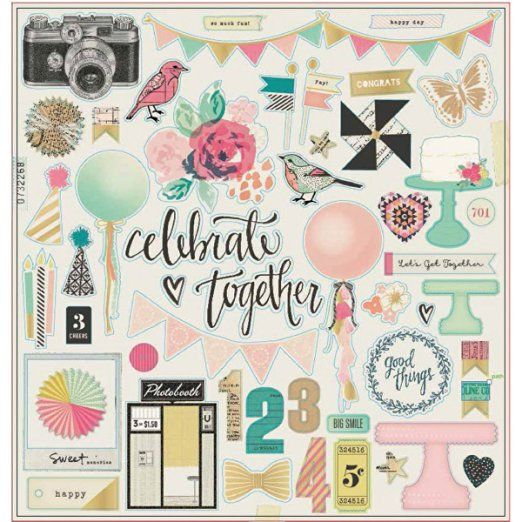 American Crafts Maggie Holmes Confetti Gold Foiled Chipboard 12-inch x 12-inch…