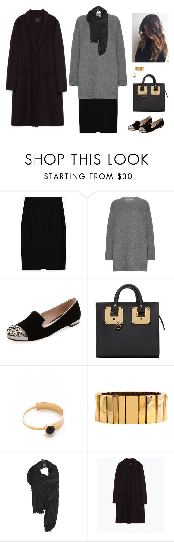 """""""Sans titre #6537"""" by youngx ❤ liked on Polyvore featuring Zara, Valentino, Miu Miu, Sophie Hulme, Marc by Marc Jacobs, Lele Sadoughi and Tissu Tiré"""