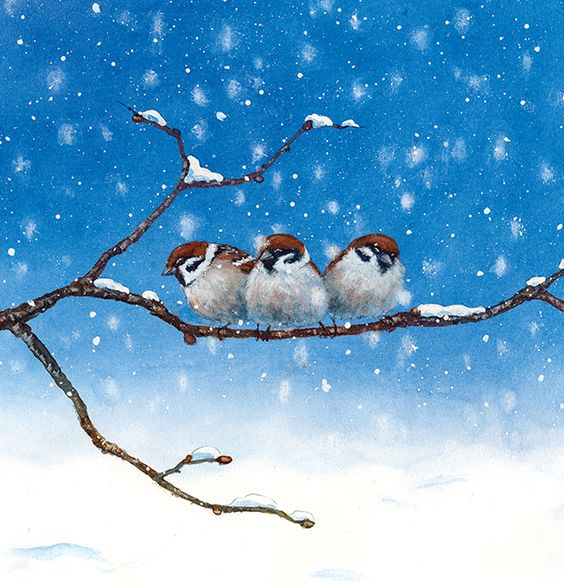 Drie kleine vogeltjes op een takje #Danieladrescher