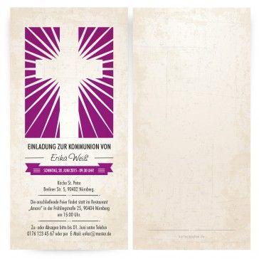 Einladungskarten zur #Kommunion als strahlendes Kreuz in Lila. Individuell mit eurem Text auf ► http://www.kartenmachen.de/shop/feste/einladungskarten-zur-kommunion/kommunionseinladungen-strahlendes-kreuz-in-lila.html