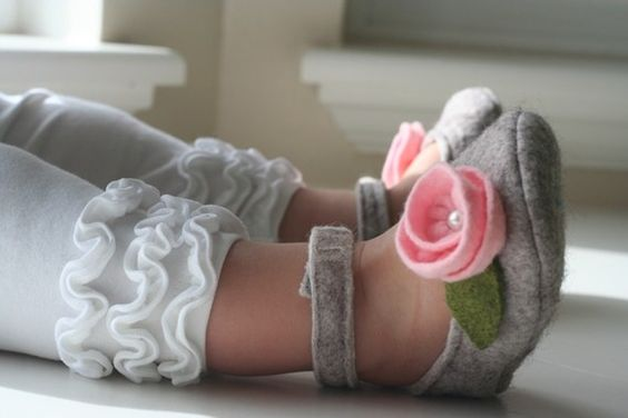 Grey Mary Janes with Pink Flower Baby Shoes   $22.00   LippyLouShoes