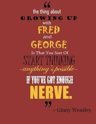 """Anything's possible if you've got enough nerve."" Harry, Ginny, Fred, George"