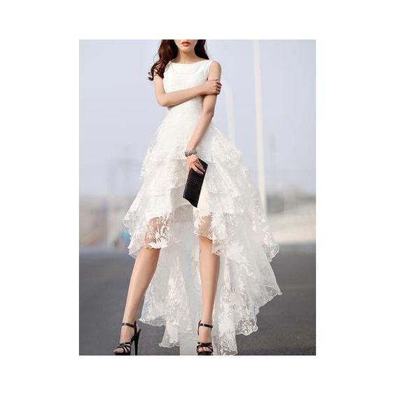 White Floral Print Gauze Panel Multi Layer Sleeveless Hi-lo Dress via Polyvore featuring dresses, floral high low dress, high low dresses, sleeveless floral dress, layered dress i white gauze dress