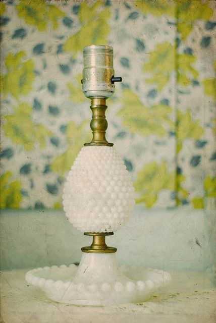 1960's decor and design vintage milk glass lamp