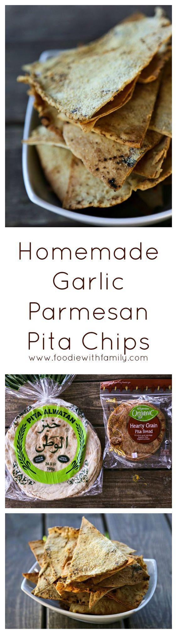 Homemade Garlic Paramesan Pita Chips from foodiewithfamily.com