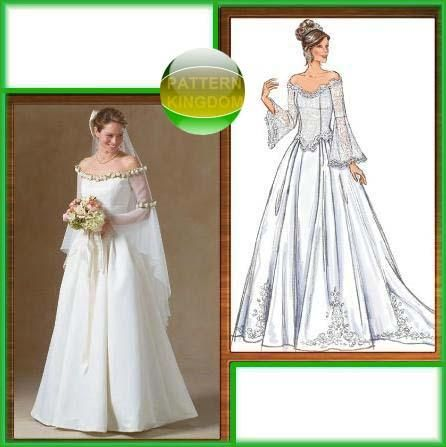 Butterick 4453 fantasy medieval wedding gown dress pattern Butterick wedding dress patterns