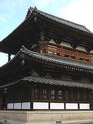Main Hall, Horyuji Temple. [Akusa period]