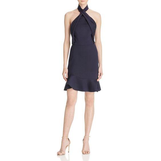 N Nicholas Asymmetric Ruffle Halter Dress ($395) ❤ liked on ...