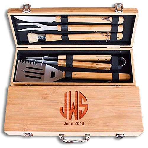Gifts For Guys Gifts For Men Personalized Grilling Tool Set with Monogrammed Bamboo Case Grilling Gifts 3 Piece Stainless Steel