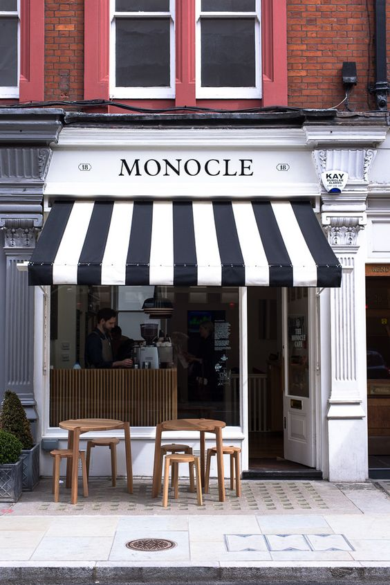The Monocle Caf 233 Black And White Awning Open Trade