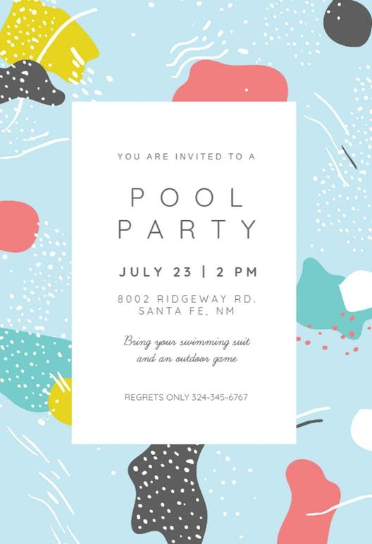 Artistic Painting Pool Party Invitation Template Free Greetings Island Pool Party Invitations Pool Party Invitation Template Party Invite Template