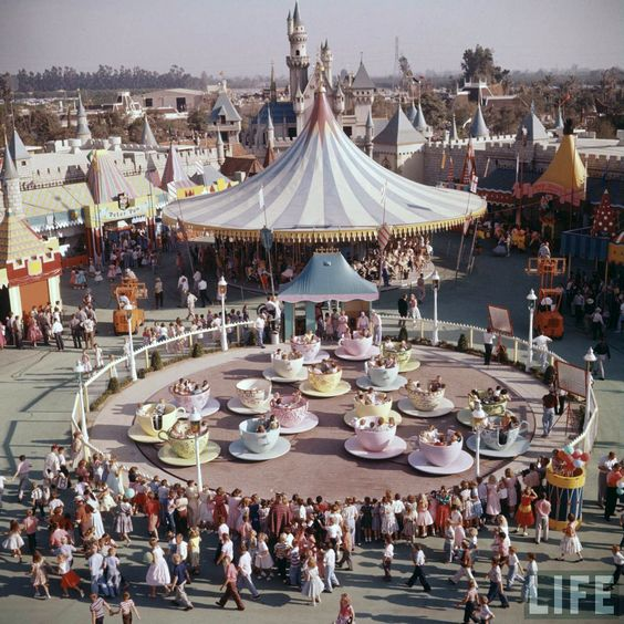 Disneyland opening day 1955 - Teacups and Fantasyland. From Life Magazine, photos by Allan Grant and Loomis Dean. Color corrected by United Style