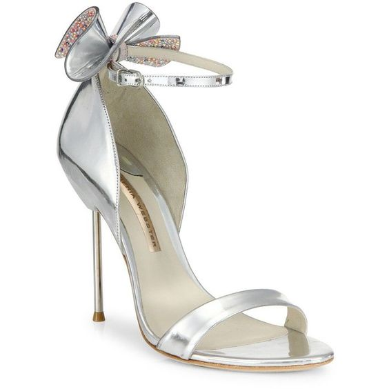 Sophia Webster Maya Metallic Leather Ankle-Strap Sandals ($575) ❤ liked on Polyvore featuring shoes, sandals, apparel & accessories, silver, ankle strap sandals, silver open toe shoes, padded sandals, silver metallic sandals and metallic sandals