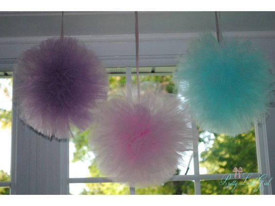 Reserved for Allison-Ballerina Tutu Pom Party Decorations Choose Your Own Colors Pink, Lavender, Teal - Set of 3- Ballerina Party-Tutu Party. $15.00, via Etsy.