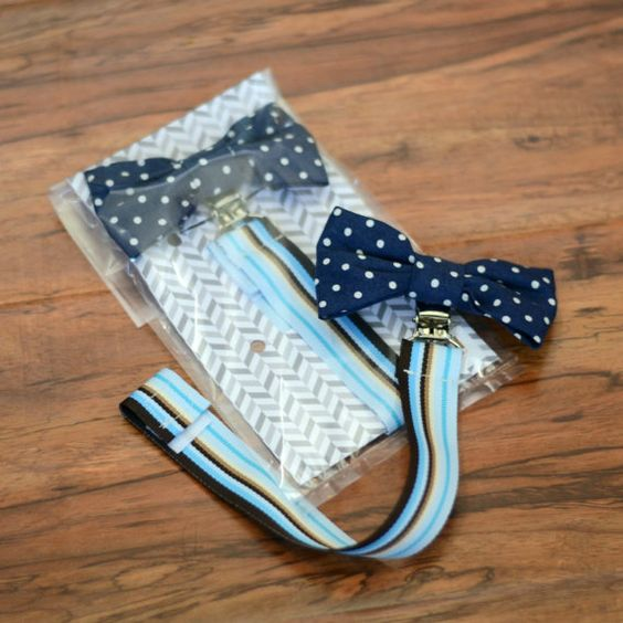 Bow Tie Pacifier Clip Holder Navy Blue and White by rufflesnsuch