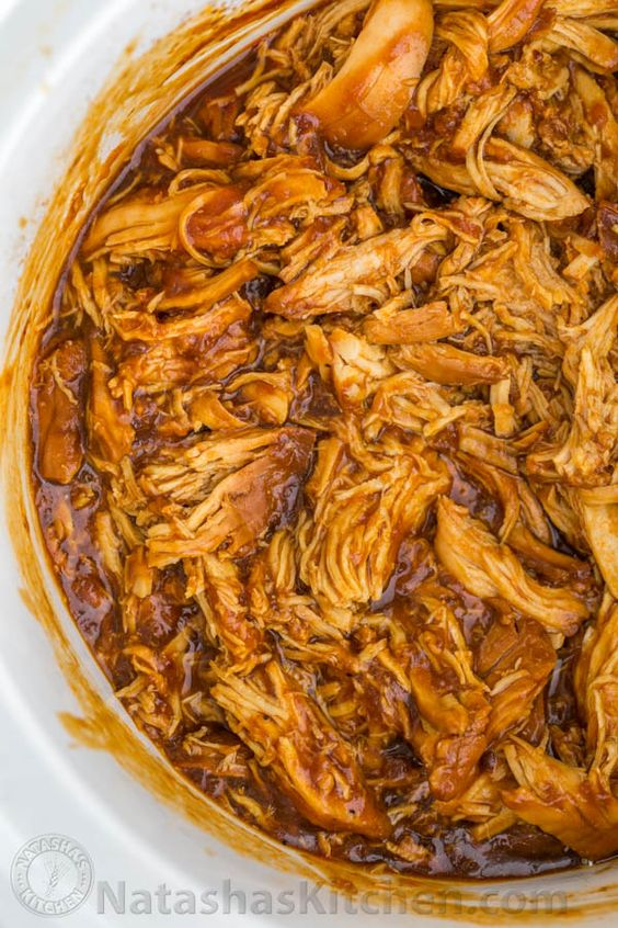 Crockpot BBQ Chicken - The Best Slow Cooker Pulled Chicken! Fall-apart tender, juicy and delicious!   natashaskitchen.com