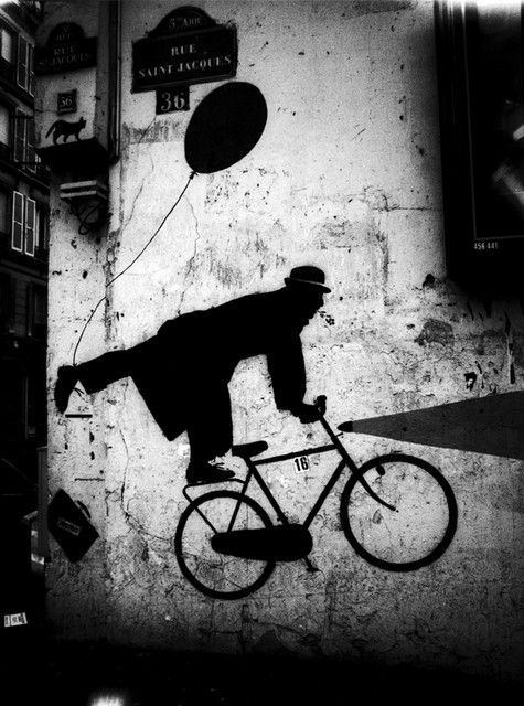 """Photography Credit Stanko Abadžic, ""Bicycle Art on Wall,"" Rue Saint-Jacques, Paris"
