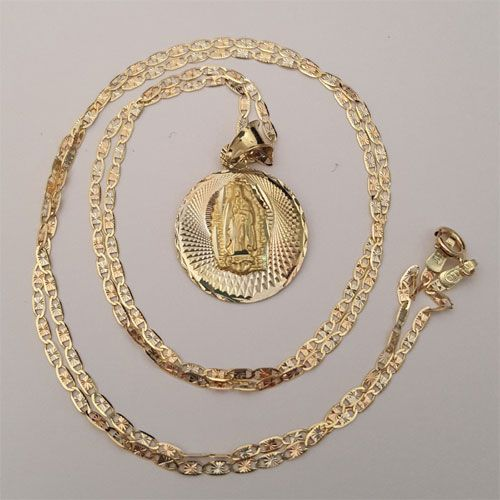"""Real 14k Yellow Rose Gold Virgin Mary Pendent Charm 18/"""" Inch Valentino Chain"""