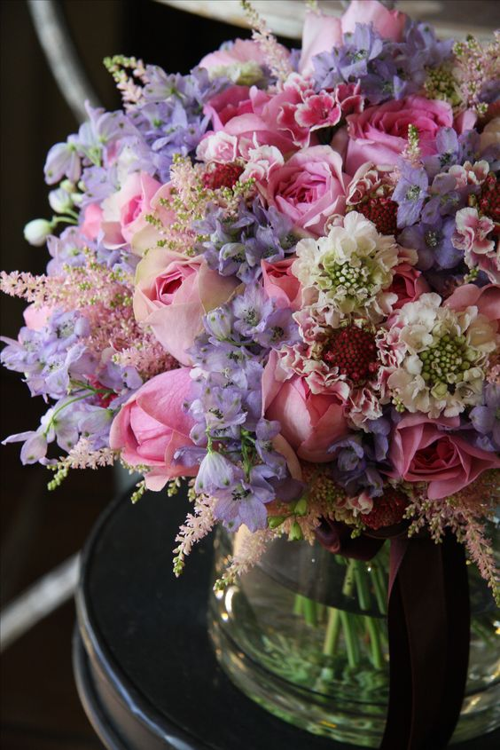 rose,scabiosa,delphinium and astilbe: