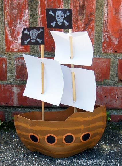 Create a Mayflower ship or a pirate ship using paper plates and a few other materials.