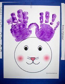 Handprint Bunny- cover bunnies face with cotton balls
