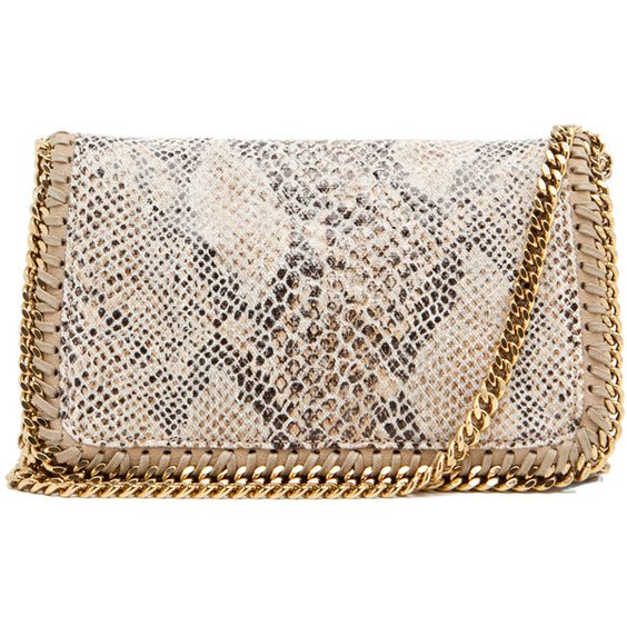 Stella McCartney Eco Snake Clutch in Caramel (25 125 UAH) ❤ liked on Polyvore featuring bags, handbags, clutches, purses, bolsas, caramel, snake handbags, snake purse, chain strap purse and stella mccartney