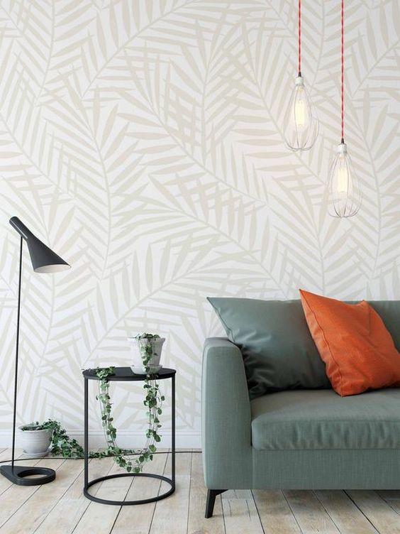 Leaf Wall Mural Peel And Stick Wall Mural Removable Etsy Wall Murals Wallpaper Decor Scandinavian Wallpaper