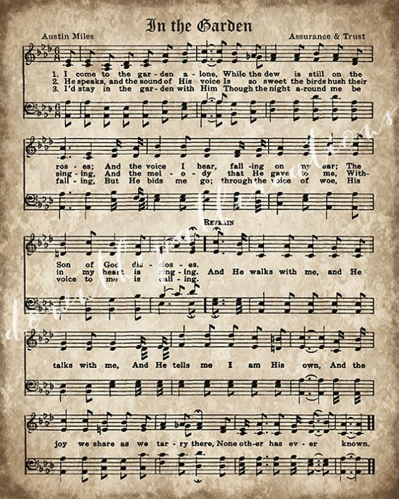 Hymnal Page, In the Garden, Printable Vintage Sheet Music, Instant Download, Aged Antique Hymn, Christian Wall art, Church Decor ----------------------------------------------------------------- This listing is for an INSTANT DOWNLOAD of the JPG file Dimensions: 8 x 10 inches