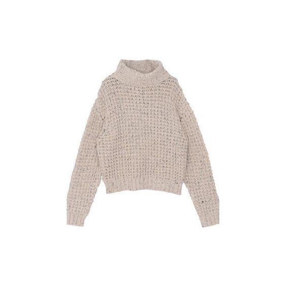 Nude Turtleneck Sweater ($48) ❤ liked on Polyvore featuring tops, sweaters, nude, polo neck sweater, turtleneck tops, brown sweater, turtle neck sweater and brown turtleneck