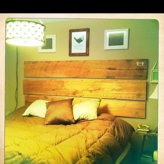 Headboard from old barn wood.