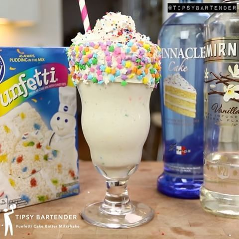 Cake Batter Martini rim glasses with corn syrup and sprinkles