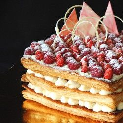 Mille-feuille with white chocolate and strawberries | Baking ...