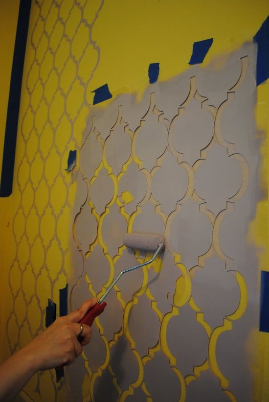 TUTORIAL :: Stenciled Moroccan Wall. I'd prefer a gloss stencil over a matte with the same color:
