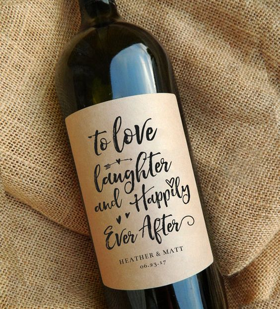 Wedding Gift Wine Labels Thank You Gift by paperandlace on Etsy
