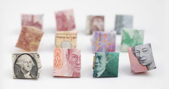 Diy Anillos origami con billetes