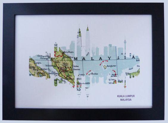 Kuala Lumpur Malaysia Skyline print with by DragonTreeStudio, $12.00
