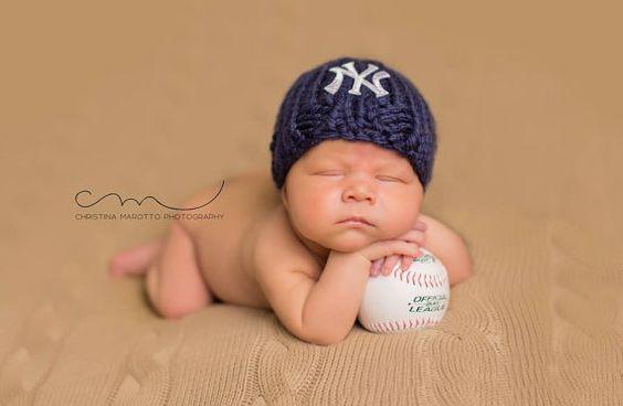 NY Yankees Baby Hat Newborn Yankees Beanie Knit NY by bluestonesky